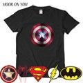 Comic LOGO Super Hero T Shirt Супермен Бэтмен Капитан Америка Вспышки superhero Marvel Фильм Мужчины Косплей Футболки Выродок Тройник