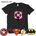 Logo comic super hero t camisa superman batman capitão américa the flash marvel superhero movie cosplay homens camisetas geek tee