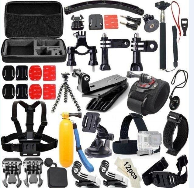 Pour GoPro accessoires Hero5/4/3 + bandeau poitrine bande pour SJCAM sac de rangement pour Xiaoyi caméra accessoires Selfie Stick ensemble