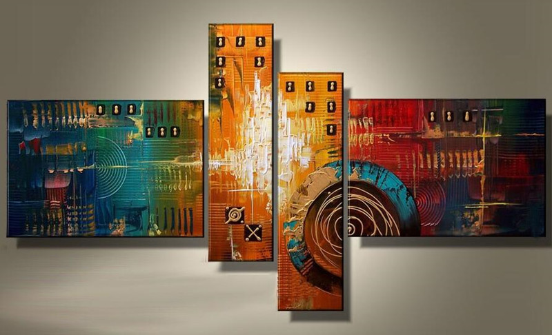 Colorful Abstract Geometric Oil Painting On Canvas Modern
