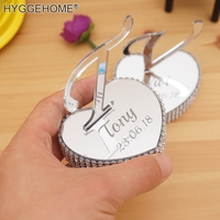 2pcs 6cm Hearts With Letter Standing up Mirrored 2cm EVA With Rhinestones Personalized Custom Wedding Gift Home Decoration