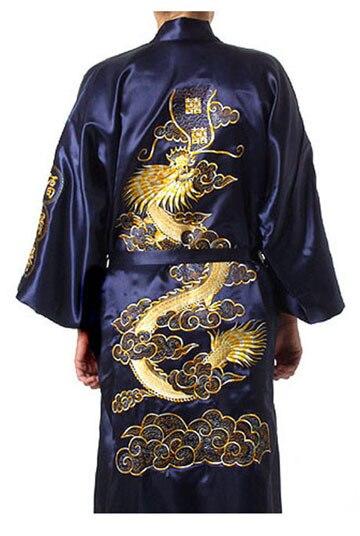 Темно-синий китайских людей традиционный сатин роба вышивка кимоно ванна платье дракон размер sml XL XXL XXXL S0008