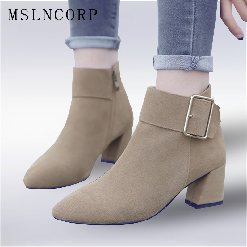 Plus Size 34-43 Women Fashion Buckle Side Zipper Genuine Leather Ankle Boots Comfortable Thick High Heels Spring Autumn Shoes spring autumn women thick high heel mid calf boots platform woman short boots high heels shoes botas plus size 34 40 41 42 43