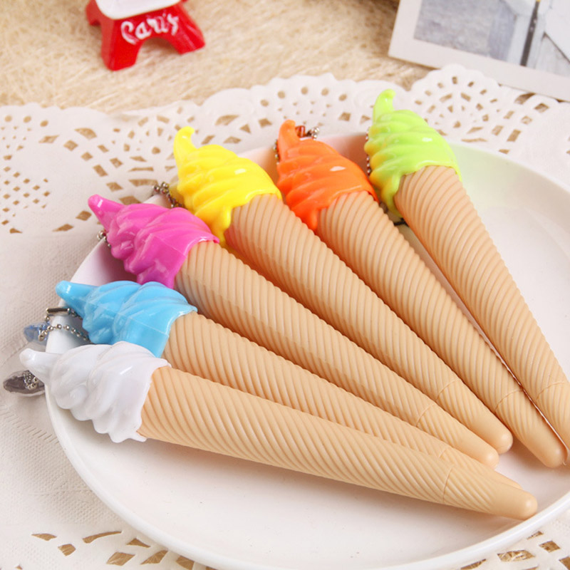 Cute Creative Ice Cream Gel Pen Kawaii Plastic Pens For Kids Writing Novelty Item Korean Stationery Free Shipping 3194