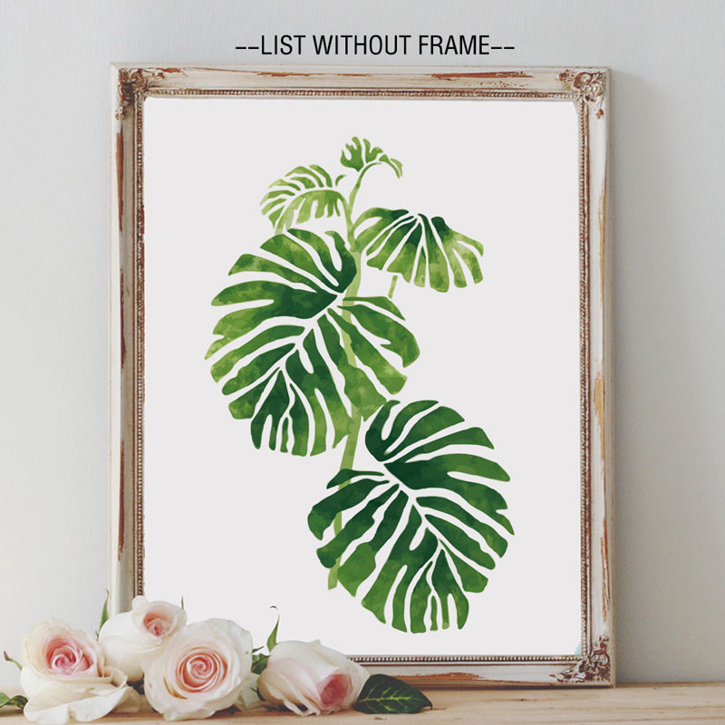 Tropical Palm Leaves Art Prints Green Rainforest Philodendron Painting Watercolor Wall Art Nursery Roon Greenery Decor K116-in Painting u0026 Calligraphy from ...  sc 1 st  AliExpress.com : wall art leaves - www.pureclipart.com