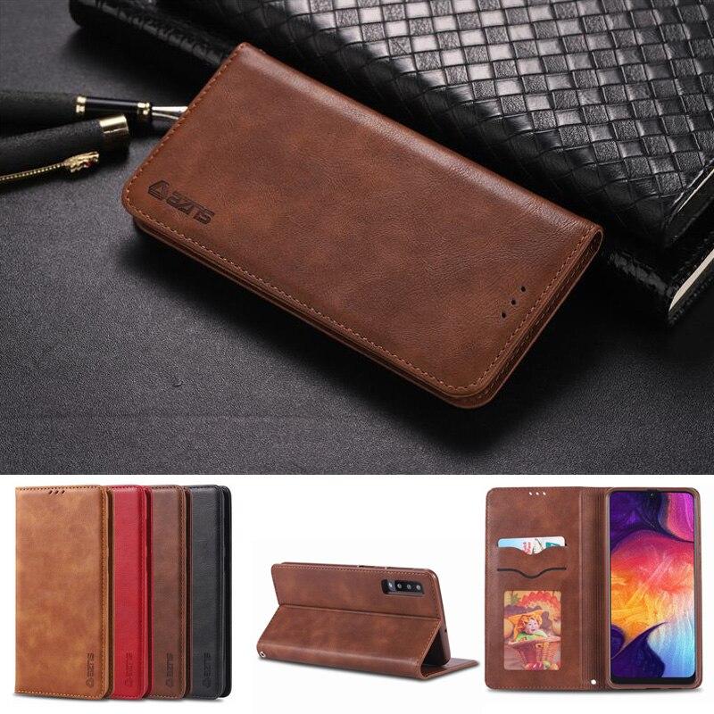 Чехол для samsung Galaxy A50 A30 A20 A10 роскошный однотонный Чехол-книжка чехол-портмоне для телефона на магните кожаная сумка для samsung 10 20 30 50 чехол