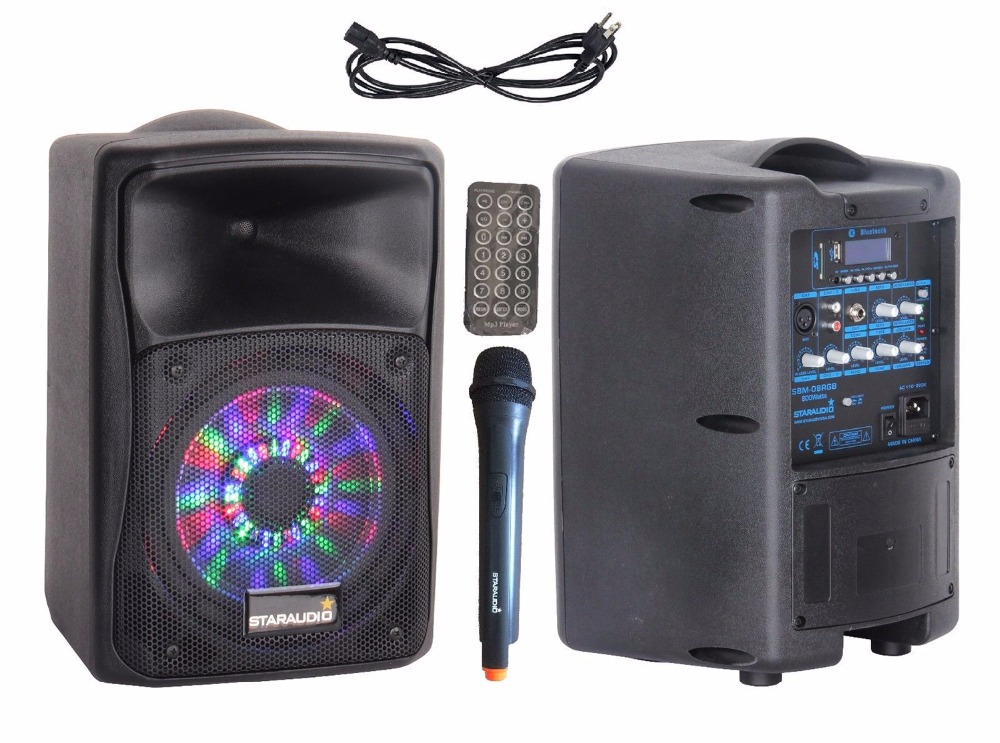 STARAUDIO Pro 800W 8PA DJ BT USB SD Rechargeble Battery Speaker Powered Stage Karaoke Active UHF Mic RGB LED Lighting SBM-08RGB