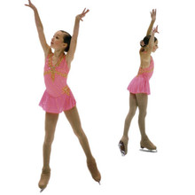 pink ice skating clothes for competition girls ice skating competition dresses hot slae custom ice skating dresses free shipping