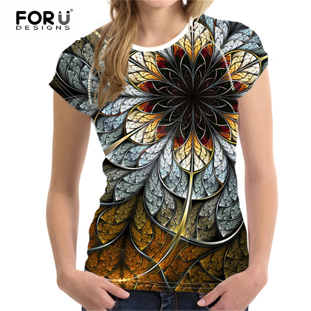 FORUDESIGNS   T  -  shirts   Women Tops Tees 3D Floral   T     Shirt   Femme   T     Shirt   Women Fashion Tshirts Vetement Femme Female   T     Shirts   Top
