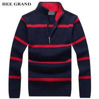 HEE GRAND Men Casual Sweater 2016 New Arrival Stand Collar Striped Thin Wool Autumn Winter Pullovers