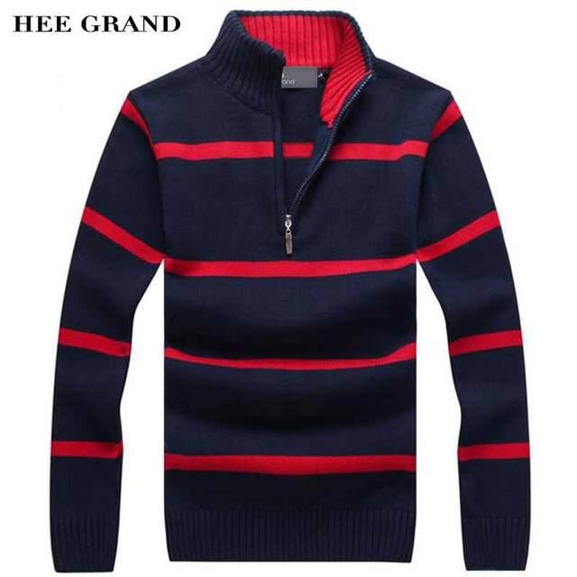 Hee Grand/мужчин свитер для повседневной носки Новое поступление 2017 года Стенд воротник в полоску тонкой шерсти осень-зима пуловеры плюс Размеры M-3XL MZM504