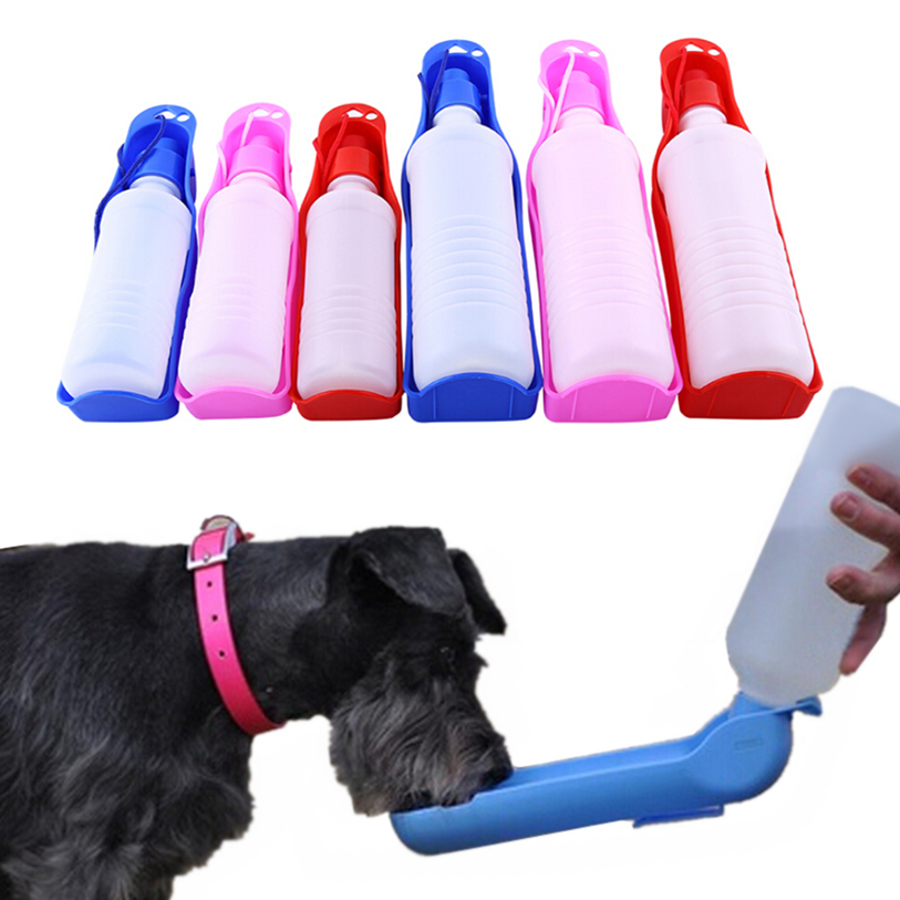 250/500ml Dog Water Bottle Feeder With Bowl Plastic Portable Water Bottle Pets Outdoor Travel Pet Drinking Water Feeder 40FB18