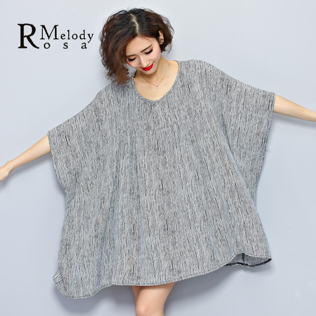 2016 Plus Size Women European Style Fashion Women Batwing Sleeve Striped Big O Neck Loose Tops Shirt(R.Melody TYW058)