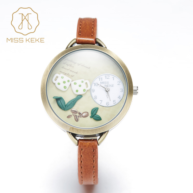 Festival Memorial Day Gift Fröken Keke Real Coffee Mini World Watch Relogio Feminino Ladies Women Quartz Läder Armbandsur 062