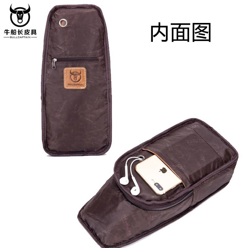 Image 4 - BULLCAPTAIN Vintage Men's Leather One Shoulder Crossbody Leather handbag Chest bag men leather bag Men's Cross Body Shoulder bag-in Waist Packs from Luggage & Bags