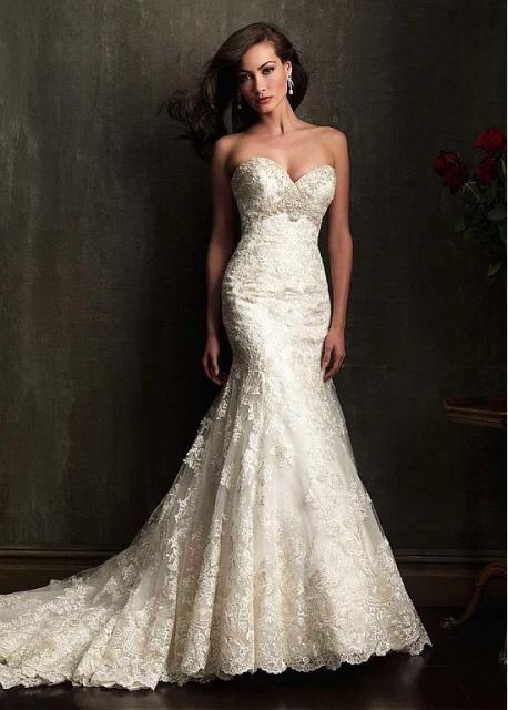 Elegant Tulle Satin Sweetheart Neckline Trumpet Wedding Dress With