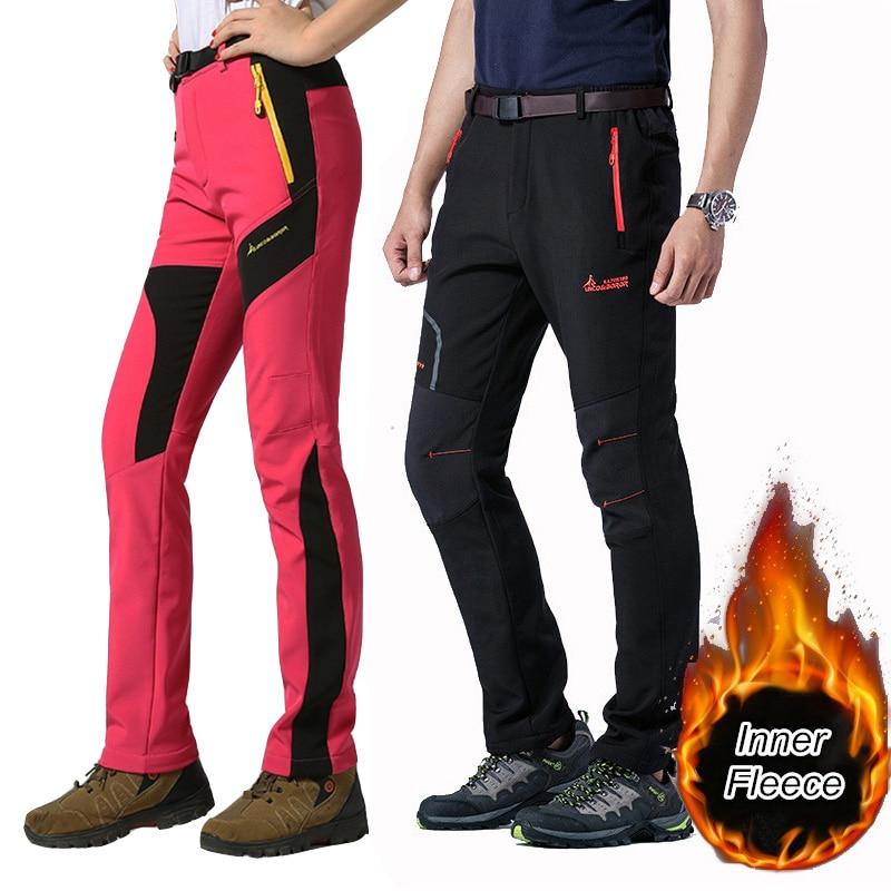 Men Women Snowboard Pants Outdoor Waterproof Softshell Inner Fleece Hiking Hunting Pants Winter Snow Ski Pants Skiing Trousers