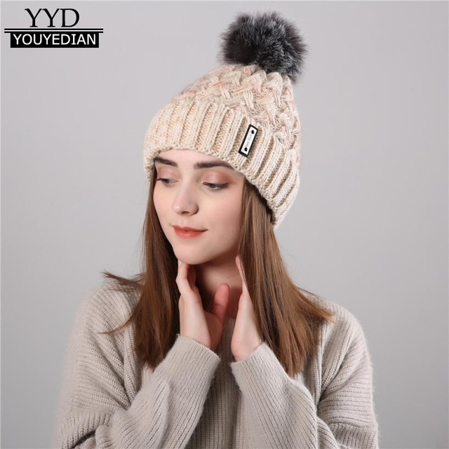 4f23e839e5f50 Gorros Mujer Invierno 2017 Women s Knitted Wool Cosy Warm Beanies Winter Hat  Crochet Cap Pom Pom Hats For Women Ladies  1117