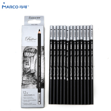 цена на Marco 12Pcs/set Black Sketch Painting Pencils Soft/Neutral/Hard Lead Hardness Drawing Pencil Non-toxic For Student Art Supplies
