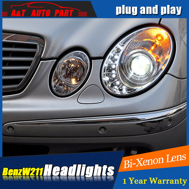 Auto part Style LED Head Lamp for Benz W211 led headlights 2003-2006 for W211 drl H7 hid  Bi-Xenon Lens angel eye low beam auto clud style led head lamp for benz w163 ml320 ml280 ml350 ml430 led headlights signal led drl hid bi xenon lens low beam