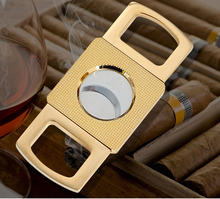 New 1pcs Double Blades Sharp Cigar Cutter Travel Stainless Steel Pocket Gadgets Knife Cuban Cigars With Pouch +Gift Box