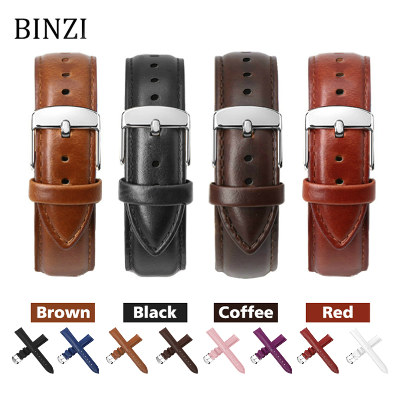 Black Watch Bands Strap Watchband Leather Men Women Genuine 12mm 14mm 16mm 18mm 20mm 22mm Watch Strap Saat Kordonu Watch Belt