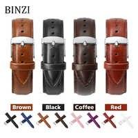 Black Watch Bands Strap Watchband Leather Men Women Genuine 12mm 14mm 16mm 18mm 20mm 22mm Watch Strap Saat Kordonu Watch Belt