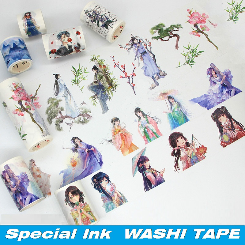 26 Designs Washi Masking Tape Special Ink Chinese Classical Girls Japanese Adhesive DIY Planner Paper Label Stickers Diary Gift