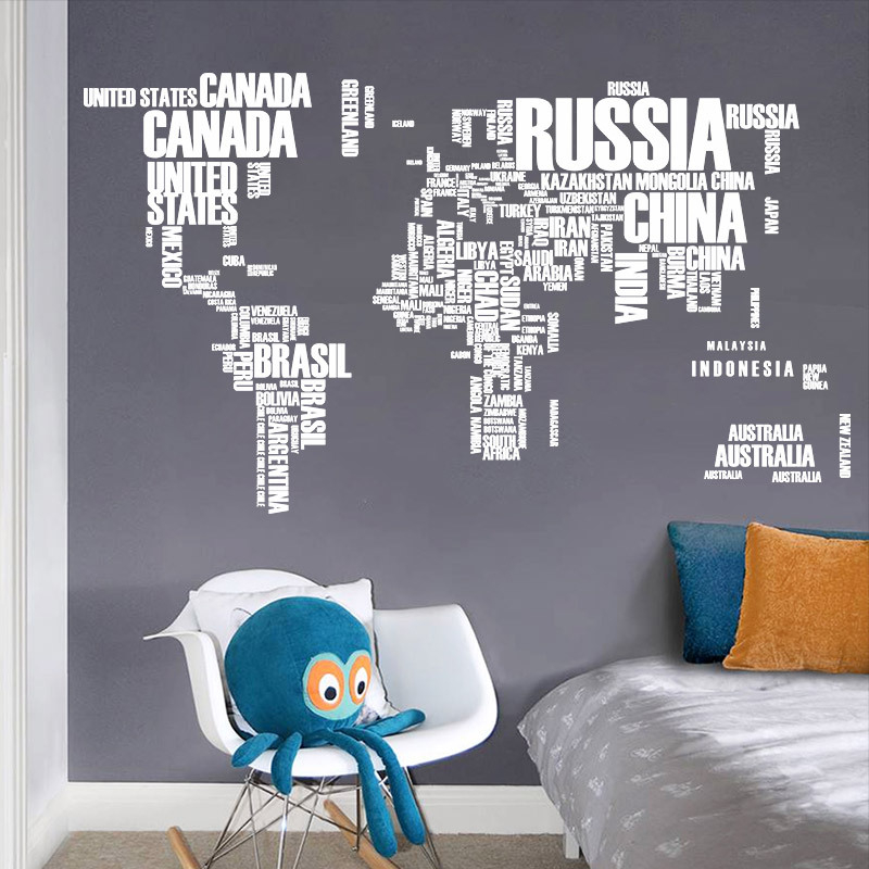 White letters world map wall stikers office living room for Living room 6 letters
