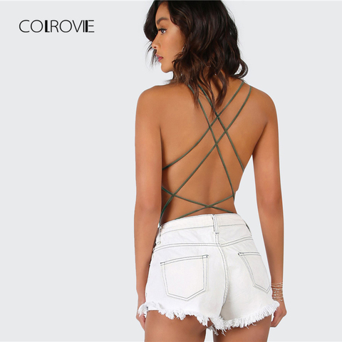 COLROVIE Army Green Criss Cross Strappy Backless Sexy Bodysuit Summer Mid Waist Night Out Stretchy Women Bodysuits Lahore