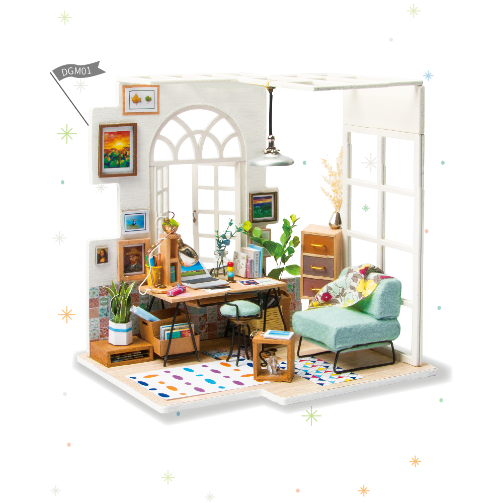 DIY Soho Time With Furnitures Children Miniature Wooden Doll House Model Building Kits Dollhouse Toys For Christmas Gift DGM01