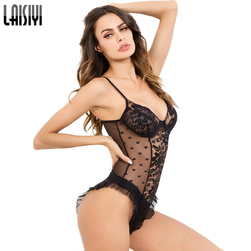 LAISIYI Black Bodysuit Lace Backless Sexy Club Sleeveless Bodys Mujer Transparent Summer Beach Romper Bodycon Overalls ASJU20256