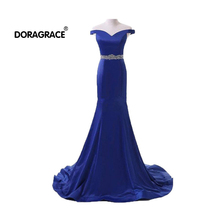 Doragrace Real Photo Off-Shoulder Mermaid Prom Gowns Royal Blue Evening Dresses Beaded Party Dress