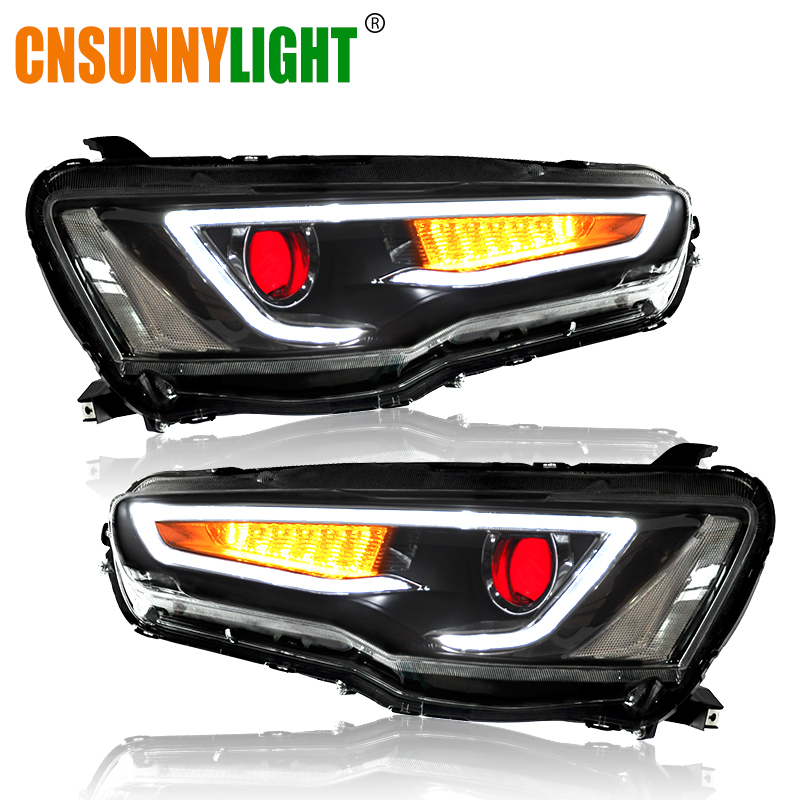 CNSUNNYLIGHT For Mitsubishi Lancer EVO X 2008-2017 Car Headlight Assembly LED DRL Turn Signal Xenon HID Projector Lens Plug Play car bi xenon projector fog lens front bumper lights for mitsubishi lancer ex 10 lancer 08 evo 10 ling yue v312