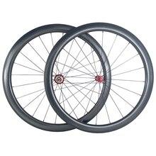 SUPER LIGHT 1420g 45mm clincher U รูปร่างแผนที่จักรยานคาร์บอนไฟเบอร์ดึงตรงหยักล้อ Powerway R36 ฮับ dimple ล้อ