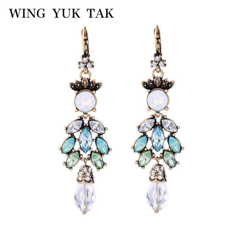wing yuk tak Top Fashion Drop Earrings For Women 2017 New Bohemia Crystal Leaves Earring Dangle Bijoux Party Jewelry