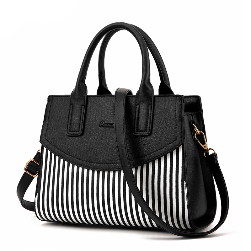 Fashion Women Office Handbags Black And White Colorful Stripe Hand Bags Ladies Zipper Shoulder Bags High Quality PU Leather Tote