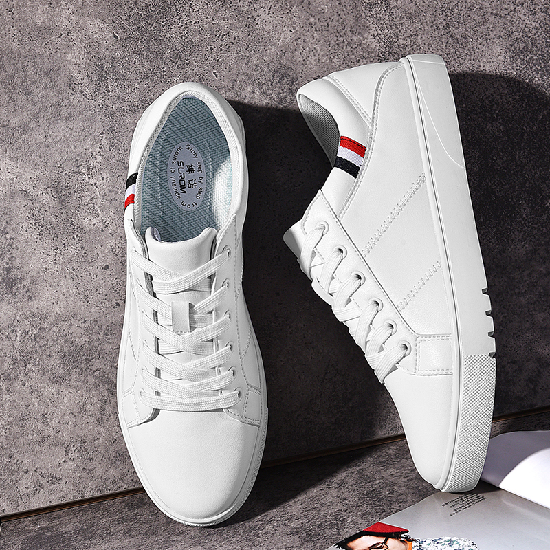 SUROM 2019 Spring New Men Casual Shoes Breathable Wear Resistant Shoes Comfortable Summer White Round Toe Lace Up Flat Snekaers