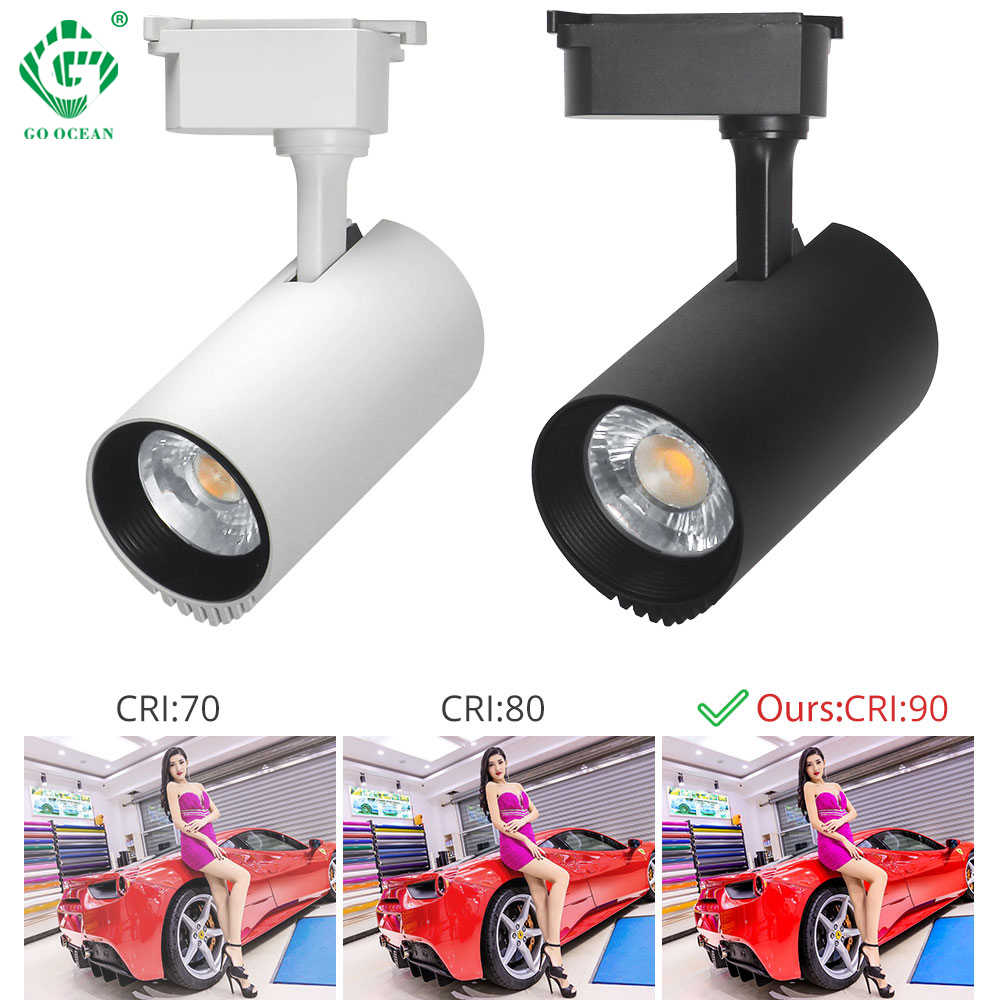 LED Track light 10W/20W/30W/40W Clothing Store Exhibition COB Lamp Showroom Spot Lights Fixture Rail Spotlights Shop Lighting