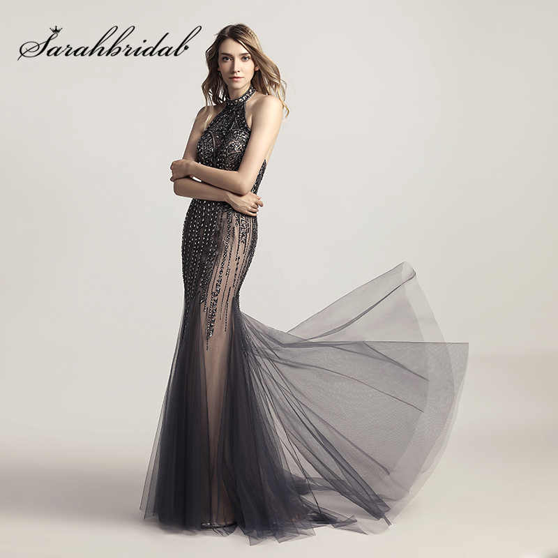 406fbbc41d0 Sexy Halter Backless Mermaid Evening Dresses with Luxury Beading Crystal  Tulle Long Prom Plus Size Dress