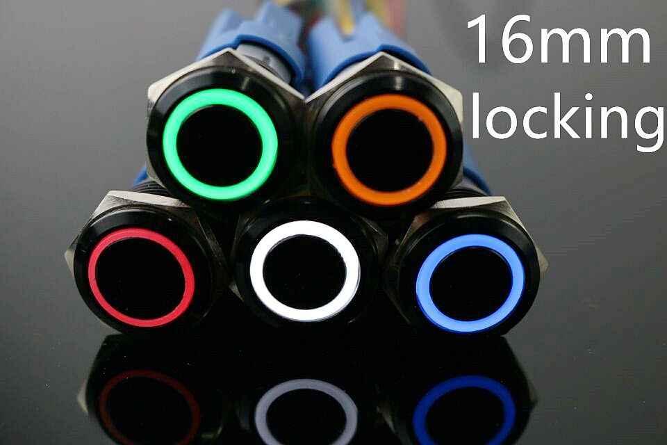 16mm okrągły przycisk zatrzaskowy przełącznik, LED Hola 5A 1NO1NC SPDT ON/OFF