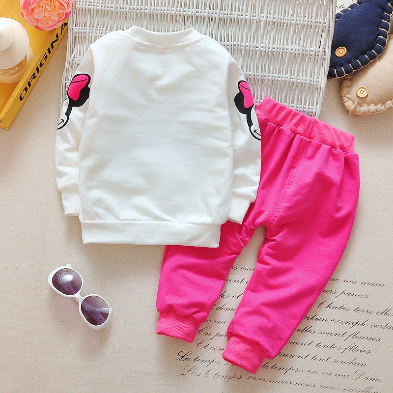 Baby Girls Minnie Mickey Clothing Set Children Spring Autumn 3Pcs Sets Hooded Jacket Coat Vest Pants Suits Kids Cartoon Clothes 4