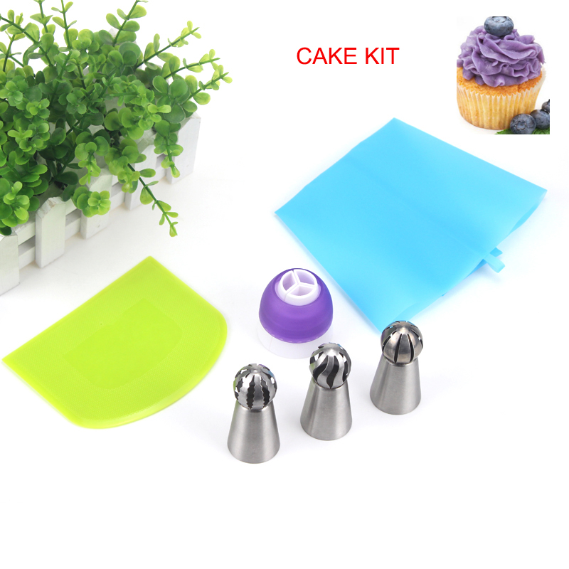 HADELI 6pcs/lot cake icecream kit staineless steel russia flower nozzles plastic scraper silicone bag Adaptor Cake Decorating