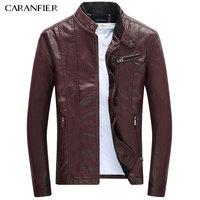 CARANFIER Mens PU Jackets Coats Motorcycle Biker Faux Leather Jacket Men Autumn Winter Clothes Male Classic Thick Velvet Coat 4