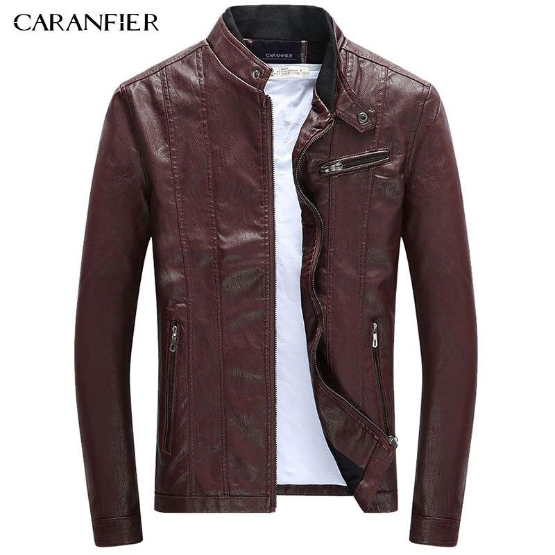 CARANFIER Mens PU Jackets Coats Motorcycle Biker Faux Leather Jacket Men Autumn Winter Clothes Male Classic Thick Velvet Coat