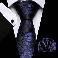 New Fashion Blue Paisley Tie for Men Pure Silk Jacquard Woven Hanky Cufflinks Set Designer Ties