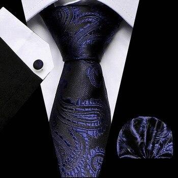 цена на New Fashion Blue Paisley Tie for Men Pure Silk Jacquard Woven Tie Hanky Cufflinks Set for Men Designer Fashion Silk Ties