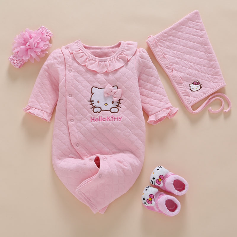 Newborn Baby Girl Clothes Winter   Romper   Cotton Infant Baby Jumpsuit Photography 4pcs/Set Baby Headband+Hat+Sock 0 3 6 9 12 Month
