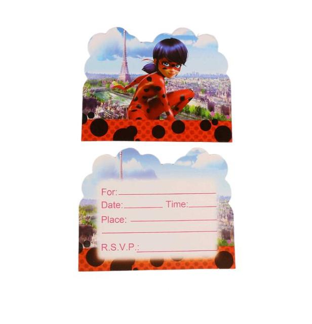 10pcs miraculous ladybug theme party paper invitation card birthday