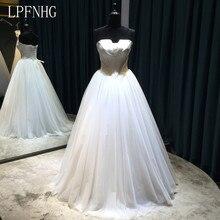 Gaun Perkahwinan Tulle 2017 Tanpa Lengan Tanpa Tali Bahu Daripada Renda Bahu sehingga Tulle dan Satin 2017 Gaun Pengantin A-line
